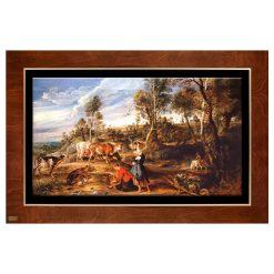 تابلو نقاشی مزرعه بالای دریاچه