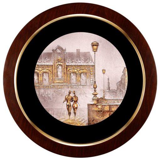 تابلو ورق طلا دایره ای FWSRG-40X40-C