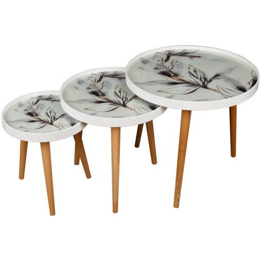 میز عسلی سه تیکه مدل WHITE ASH لوتوس