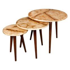 میز سه تیکه عسلی مدل MARBLE